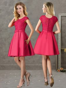 Traditional Short Sleeves Lace Zipper Dama Dress for Quinceanera