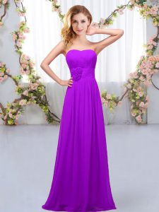 Nice Chiffon Sweetheart Sleeveless Lace Up Hand Made Flower Quinceanera Dama Dress in Purple