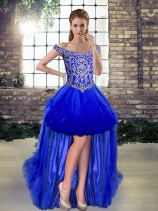 High Low Lace Up Evening Dress Royal Blue for Prom and Party with Beading