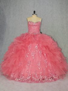 Wonderful Sleeveless Organza Floor Length Lace Up 15 Quinceanera Dress in Watermelon Red with Beading and Ruffles