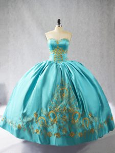 Super Sleeveless Floor Length Embroidery Lace Up Sweet 16 Quinceanera Dress with Aqua Blue