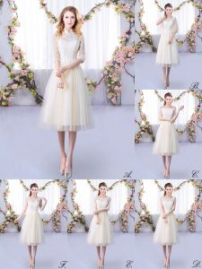 Spectacular Champagne Tulle Lace Up High-neck Half Sleeves Tea Length Vestidos de Damas Lace