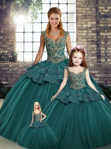 Green Tulle Lace Up Straps Sleeveless Floor Length Quinceanera Dresses Beading and Appliques