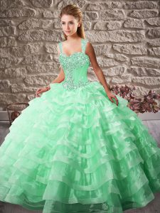 Suitable Apple Green Ball Gowns Organza Straps Sleeveless Beading and Ruffled Layers Lace Up Quinceanera Gowns Court Train