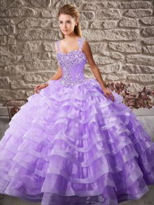 Lavender Lace Up 15 Quinceanera Dress Beading and Ruffled Layers Sleeveless Court Train