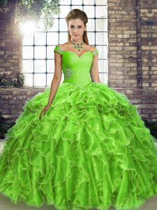 Ball Gowns Organza Off The Shoulder Sleeveless Beading and Ruffles Lace Up Quinceanera Gown Brush Train