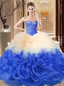 Chic Multi-color Ball Gowns Sweetheart Sleeveless Fabric With Rolling Flowers Floor Length Lace Up Beading and Ruffles Ball Gown Prom Dress