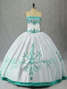 Flare White Strapless Neckline Embroidery Sweet 16 Quinceanera Dress Sleeveless Lace Up