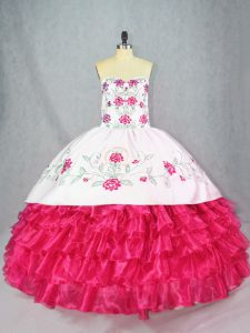 Hot Pink Ball Gowns Embroidery and Ruffled Layers Quinceanera Dresses Lace Up Satin and Organza Sleeveless