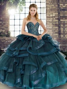 Teal Ball Gowns Tulle Sweetheart Sleeveless Beading and Ruffles Floor Length Lace Up Sweet 16 Quinceanera Dress