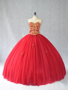 Custom Fit Red Tulle Lace Up Sweetheart Sleeveless Sweet 16 Quinceanera Dress Brush Train Beading