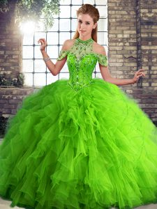 Green Tulle Lace Up Halter Top Sleeveless Floor Length Sweet 16 Dress Beading and Ruffles