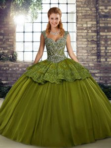 Spectacular Olive Green Straps Lace Up Beading and Appliques Quinceanera Dress Sleeveless