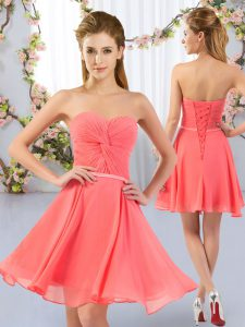 Watermelon Red Chiffon Lace Up Vestidos de Damas Sleeveless Mini Length Ruching