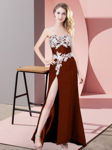 Rust Red Sweetheart Neckline Lace and Appliques Prom Dresses Sleeveless Zipper