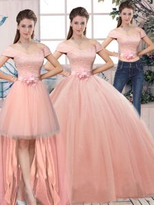 Attractive Off The Shoulder Short Sleeves Sweet 16 Dress Floor Length Lace and Hand Made Flower Pink Tulle