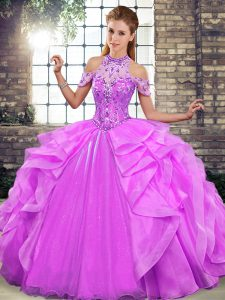 Attractive Lilac Sleeveless Beading and Ruffles Floor Length Ball Gown Prom Dress