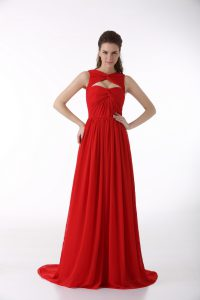 Sweetheart Sleeveless Chiffon Dress for Prom Ruching Brush Train Zipper