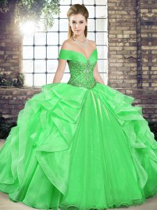 Exceptional Green Ball Gowns Off The Shoulder Sleeveless Organza Floor Length Lace Up Beading and Ruffles Sweet 16 Dress