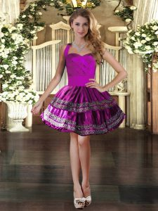 Mini Length Fuchsia Prom Dress Taffeta Sleeveless Embroidery