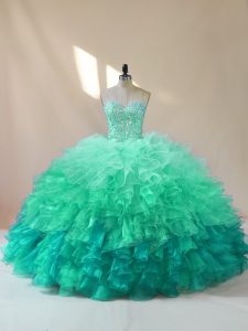 Dramatic Sleeveless Lace Up Floor Length Beading and Ruffles Quinceanera Gown