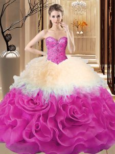 Fabric With Rolling Flowers Sleeveless Floor Length Sweet 16 Dresses and Beading and Ruffles