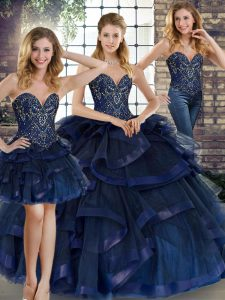 Tulle Sweetheart Sleeveless Lace Up Beading and Ruffles Sweet 16 Dress in Navy Blue