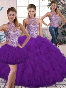 Sleeveless Floor Length Beading and Ruffles Lace Up Quinceanera Gowns with Purple