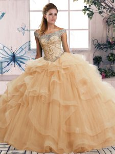 Champagne Lace Up Off The Shoulder Beading and Ruffles Ball Gown Prom Dress Tulle Sleeveless