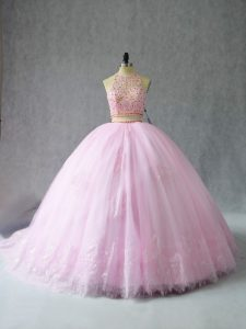 Baby Pink Halter Top Zipper Beading and Appliques Quince Ball Gowns Court Train Sleeveless
