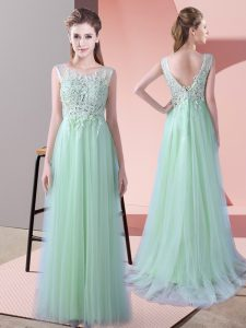 Best Sleeveless Brush Train Beading and Lace Zipper Vestidos de Damas