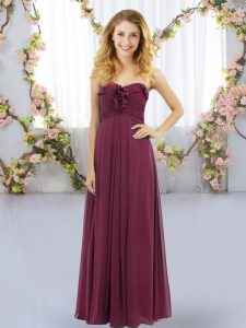 Sleeveless Floor Length Ruffles Lace Up Quinceanera Dama Dress with Burgundy
