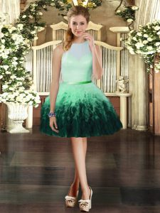 Sleeveless Tulle Mini Length Zipper Homecoming Dress in Multi-color with Ruffles