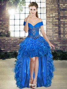 Modest Royal Blue Organza Lace Up Homecoming Dress Sleeveless High Low Beading and Ruffles