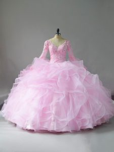 Charming Pink Tulle Lace Up V-neck Long Sleeves Floor Length Quinceanera Dresses Lace and Ruffles