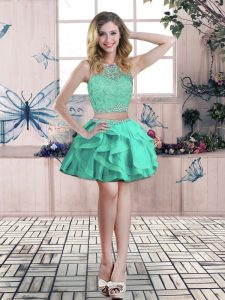 Dynamic Mini Length Zipper Turquoise for Prom and Party with Beading and Lace and Ruffles