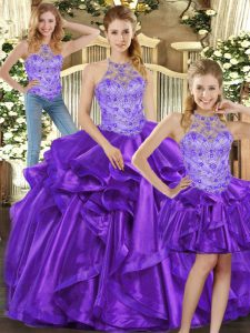 High End Halter Top Sleeveless Organza Quince Ball Gowns Beading and Ruffles Lace Up