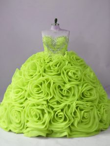 Custom Made Beading Quinceanera Gown Yellow Green Lace Up Sleeveless Brush Train
