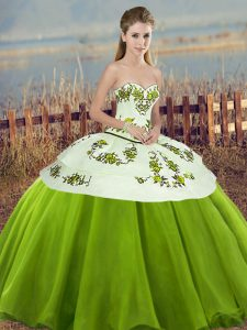 Tulle Sweetheart Sleeveless Lace Up Embroidery and Bowknot Quinceanera Dress in Olive Green
