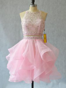 Trendy Mini Length Backless Going Out Dresses Baby Pink for Prom and Party with Beading and Ruffles