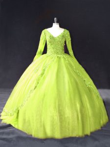 Beautiful Ball Gowns Vestidos de Quinceanera Yellow Green V-neck Tulle Long Sleeves Floor Length Lace Up