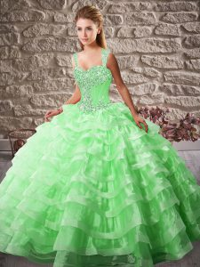 Lace Up Sweet 16 Dresses Green for Sweet 16 and Quinceanera with Beading and Ruffled Layers Court Train