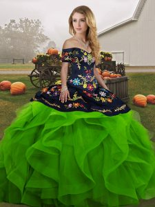 Green Ball Gowns Tulle Off The Shoulder Sleeveless Embroidery and Ruffles Floor Length Lace Up Sweet 16 Dress