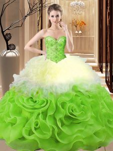 Designer Multi-color Sleeveless Floor Length Beading and Ruffles Lace Up Sweet 16 Dresses