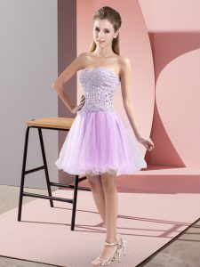 Lavender Sweetheart Neckline Beading Prom Party Dress Sleeveless Zipper