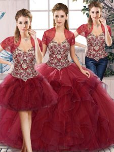 Best Burgundy Tulle Lace Up Quinceanera Dresses Sleeveless Floor Length Beading and Ruffles