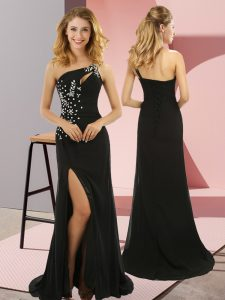 Sweet Black Column/Sheath One Shoulder Sleeveless Elastic Woven Satin Sweep Train Lace Up Beading Dress for Prom