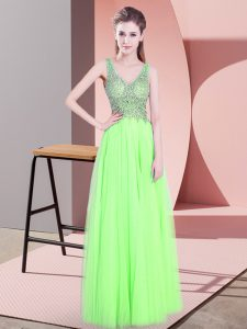 Inexpensive Yellow Green Empire Tulle V-neck Sleeveless Beading Floor Length Zipper Prom Dress