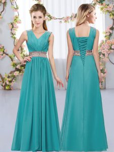 Stylish Sleeveless Floor Length Beading and Belt Lace Up Quinceanera Court Dresses with Teal