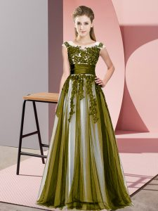 Beading and Lace Dama Dress for Quinceanera Olive Green Zipper Sleeveless Floor Length